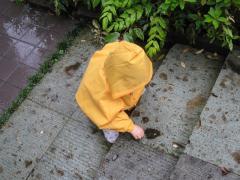 雨の中、お外で遊ぶ