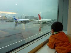 飛行機を見る