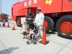 消防車の前で記念撮影