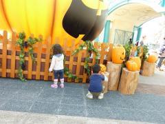 イクスピアリ入り口のかぼちゃで遊ぶ