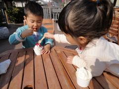 おやつにアイスクリーム